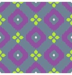 Ikat geometric seamless pattern green and purple vector