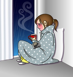 Sad girl holding mobile phone and coffee cup vector