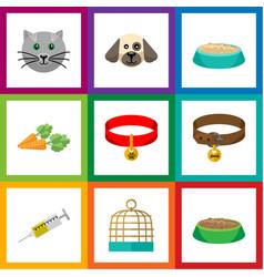 flat icon animal set of vaccine kitty collar vector image vector image