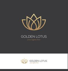 golden lotus logo vector image