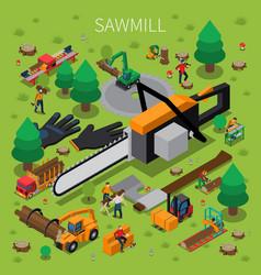 Sawmill timber mill lumberjack isometric vector