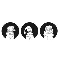 Set of Santa Claus face vector image