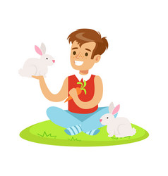 smiling boy sitting on green grass playing and vector image vector image