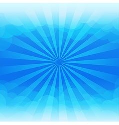 Sunburst and blue sky cloud background vector image vector image
