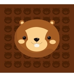 beaver with pattern background image vector image