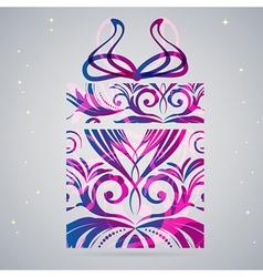 Ornament Christmas gift box vector image