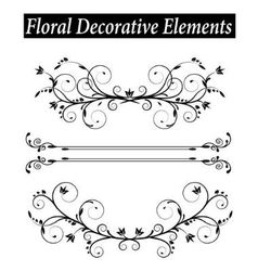 Set Floral decorative element with swirls vector image