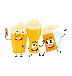 three funny smiling beer glass and mug characters vector image vector image