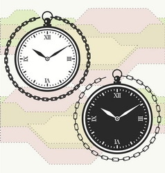Vintage pocket watch icon template vector image