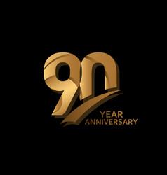 90 years gold elegant anniversary celebration vector
