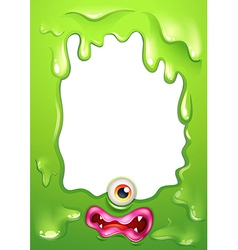 A green border template with a monsters eye and vector