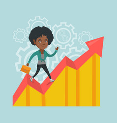 african business manager standing on profit chart vector image
