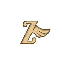 Alphabet letter with angel bird wing vector