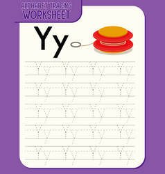 alphabet tracing worksheet with letter y and y vector image