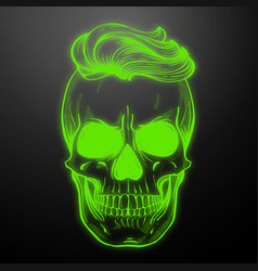 Angry skull with hairstyle vector