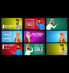 arab man woman banner set arab business vector image