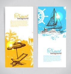 Banners travel colorful tropical design vector
