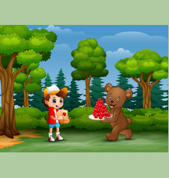 Bear carrying a plate of red heart for boy vector