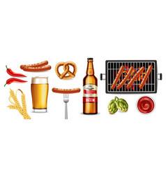 Beer pretzel and grilled sausage realistic vector