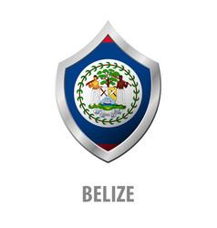 Belize flag on metal shiny shield vector