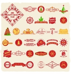 Big set of vintage Christmas labels vector image