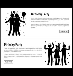 birthday party promotional monochrome banners vector image