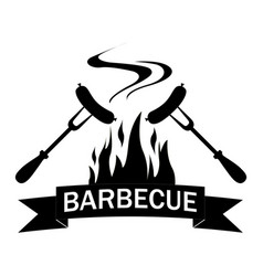Black and white logo grilled food vector