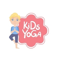 Boy In Tree Pose With Yoga Kids Logo vector