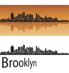 Brooklyn skyline in orange vector