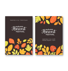 Bundle flyer or poster templates for harvest vector