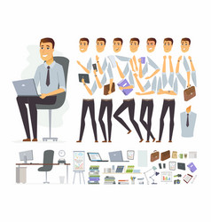 Businessman at work - cartoon people vector