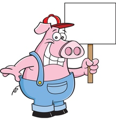 Cartoon pig wearing overhauls and holding a sign vector