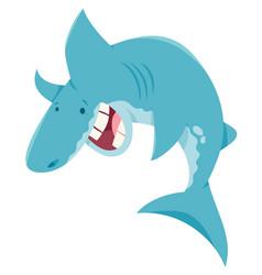 cartoon shark fish funny animal character vector image