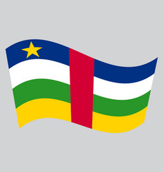 central african republic flag wavy gray background vector image vector image
