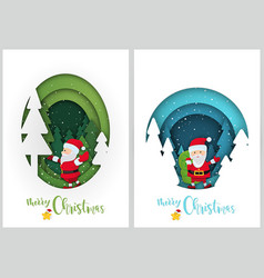 christmas greetings in paper cut style vector image