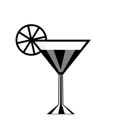 cocktail glass and lemon icon isolated on white vector image