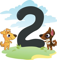 Collection number for kids farm animals - number 2 vector image