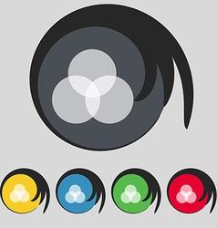 Color scheme icon sign Symbol on five colored vector