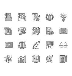 copywriting flat line icons set writer typing vector image