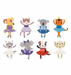 Cute little animals ballerinas set vector