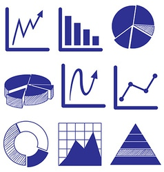 Different graphs in blue color vector