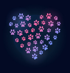 Dog footprints in heart shape colored vector