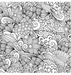 doodle floral decorative pattern vector image