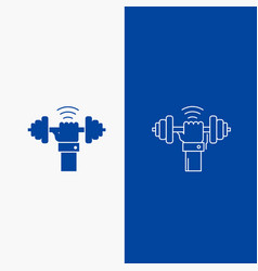 Dumbbell gain lifting power sport line and glyph vector