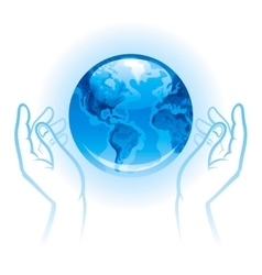 Ecological with human hands holding vector image