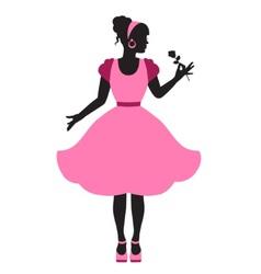 Elegant feminine silhouette in retro style vector