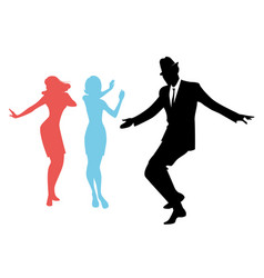 Elegant silhouettes of people wearing clothes of vector
