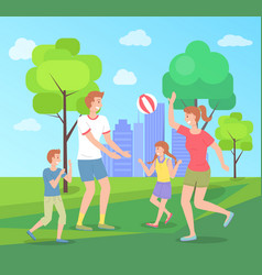 Family spending time in summer urban park playing vector