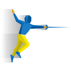 Fencer with a sword or rapier vector