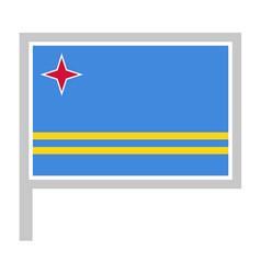 Flag on flagpole rectangular shape icon on white vector